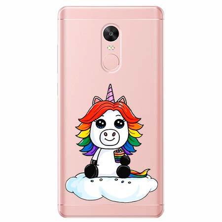 Etui na telefon Xiaomi Redmi 5 - Tęczowy jednorożec na chmurce.