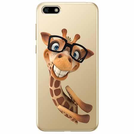 Etui na telefon Huawei Y5 2018 - Wesoła żyrafa w okularach.