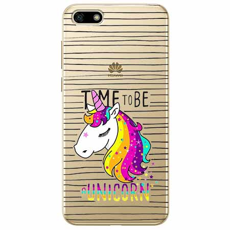 Etui na telefon Huawei Y5 2018 - Time to be unicorn - Jednorożec.