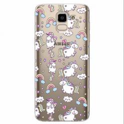 Etui na Samsung Galaxy J6 2018 - Tęczowe jednorożce.