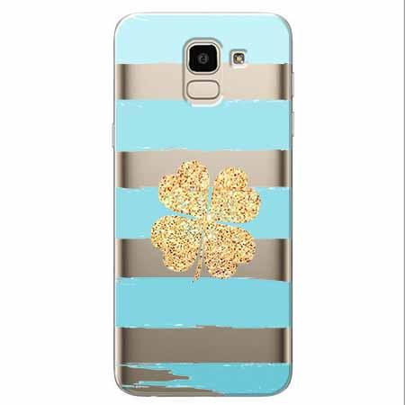 Etui na Samsung Galaxy J6 2018 - Złota czterolistna koniczyna.
