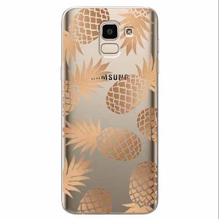 Etui na Samsung Galaxy J6 2018 - Złote ananasy.