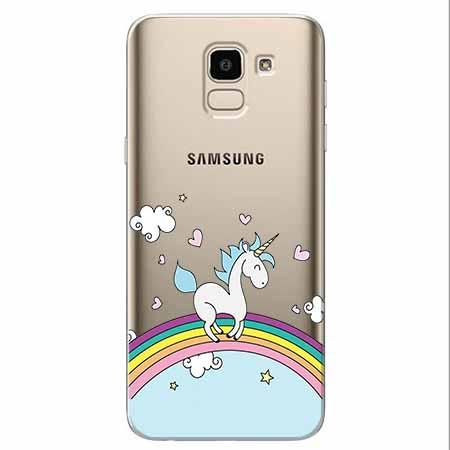 Etui na Samsung Galaxy J6 2018 - Jednorożec na tęczy.