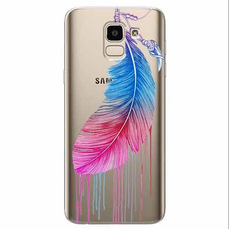 Etui na Samsung Galaxy J6 2018 - Watercolor piórko.