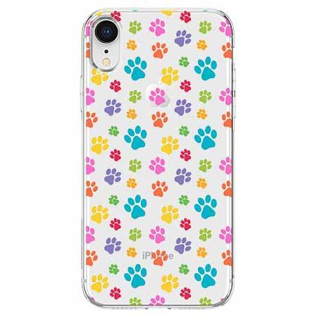 Etui na telefon Apple iPhone XR - Kolorowe psie łapki.