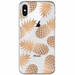 Etui na telefon Apple iPhone XS Max - Złote ananasy.