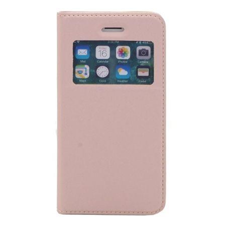 Etui na iPhone XS -  S View z klapką - Różowy.