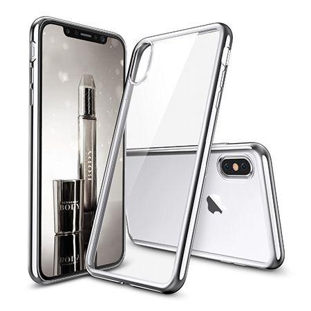 Etui na iPhone XS - silikonowe platynowane SLIM - Srebrny.