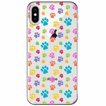 Etui na telefon Apple iPhone XS - Kolorowe psie łapki.
