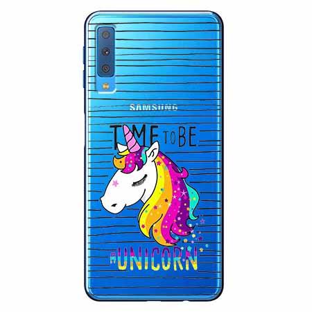 Etui na Samsung Galaxy A7 2018 - Time to be unicorn - Jednorożec.