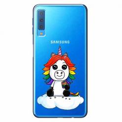 Etui na Samsung Galaxy A7 2018 - Tęczowy jednorożec na chmurce.
