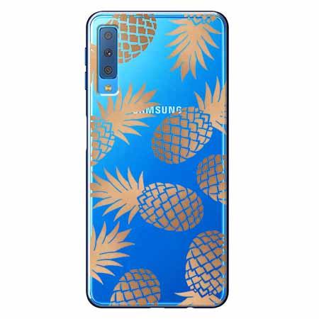 Etui na Samsung Galaxy A7 2018 - Złote ananasy.