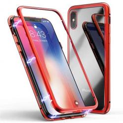 Etui metalowe Magneto na iPhone XS - Czerwony