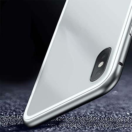 Etui metalowe Magneto na iPhone XS - Srebrny