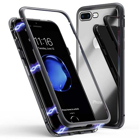 Etui metalowe Magneto na iPhone 7 Plus - Czarny