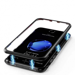 Etui metalowe Magneto na iPhone 8 Plus - Czarny