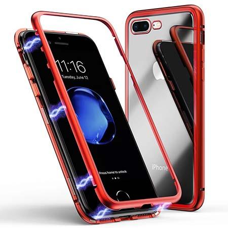 Etui Magnetyczne metalowe Magneto na iPhone 8 Plus - Czerwony