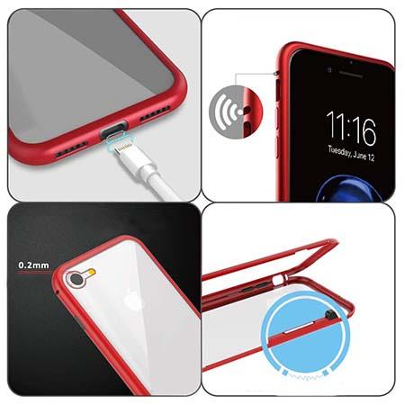 Etui metalowe Magneto na iPhone 7 - Czerwony