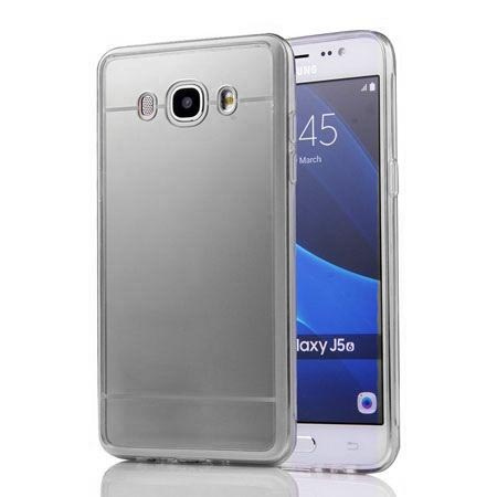 Galaxy J5 2016r mirror - silikonowe etui lustrzane TPU - Srebrne