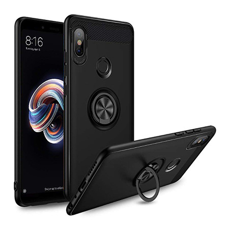 Etui na Xiaomi Mi A2 Lite - Pancerne Magnet Ring - Czarny.