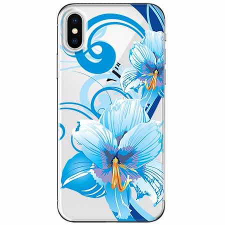 Etui na telefon Apple iPhone X - Niebieski kwiat północy.