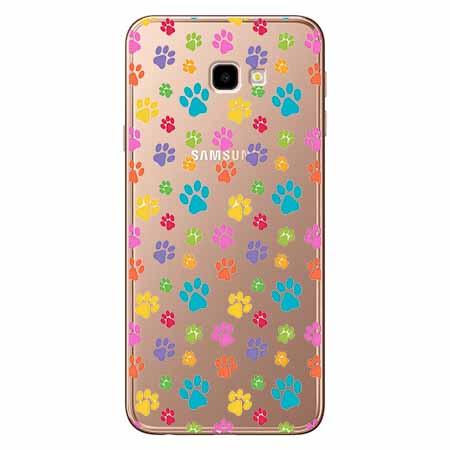 Etui na Samsung Galaxy J4 Plus - Kolorowe psie łapki.