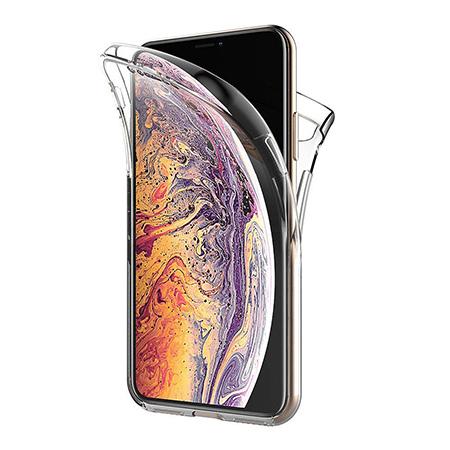 Etui na iPhone XS Max - silikonowe 360 Full przód i tył - przezroczyste.