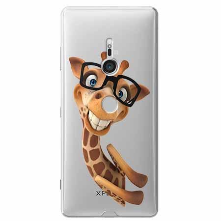 Etui na Sony Xperia XZ3 - Wesoła żyrafa w okularach.