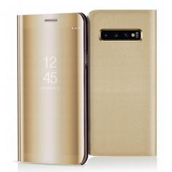 Etui na Samsung Galaxy S10 - Flip Clear View z klapką - Złoty.