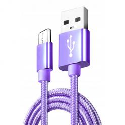 Kabel USB Typ-C do szybkiego ładowania QUICK CHARGE 3.0 - Fioletowy.