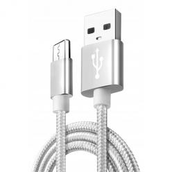 Kabel Micro-USB do szybkiego ładowania QUICK CHARGE 3.0 - Srebrny.