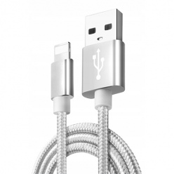 Kabel pleciony Lightning iPhone - Srebrny.