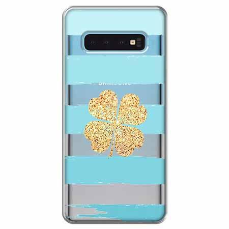 Etui na Samsung Galaxy S10 - Złota czterolistna koniczyna.