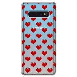 Etui na Samsung Galaxy S10 Plus - Czerwone serduszka.