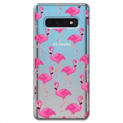 Etui na Samsung Galaxy S10 Plus - Różowe flamingi.