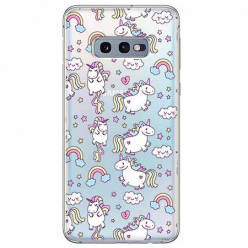 Etui na Samsung Galaxy S10e - Tęczowe jednorożce.