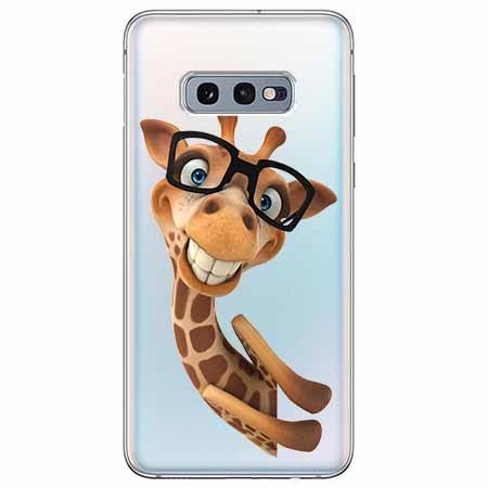 Etui na Samsung Galaxy S10e - Wesoła żyrafa w okularach.