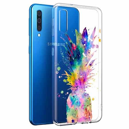 Etui na Samsung Galaxy A50 - Watercolor ananasowa eksplozja.