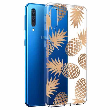 Etui na Samsung Galaxy A50 - Złote ananasy.