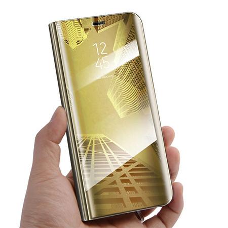 Etui na Samsung Galaxy A50 - Flip Clear View z klapką - Złoty.