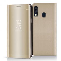 Etui na Samsung Galaxy A40 - Flip Clear View z klapką - Złoty.
