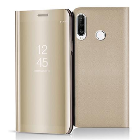 Etui na Huawei P30 Lite - Flip Clear View z klapką - Złoty.