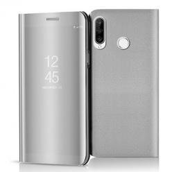 Etui na Huawei P30 Lite - Flip Clear View z klapką - Srebrny.