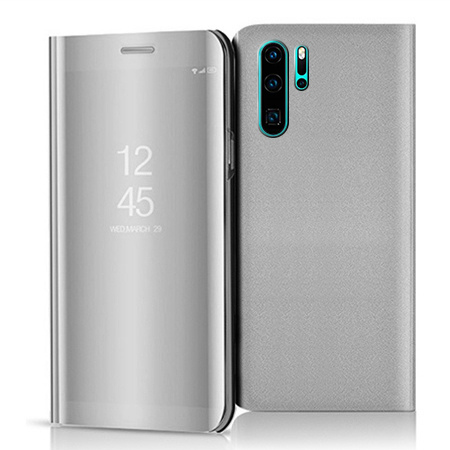 Etui na Huawei P30 Pro - Flip Clear View z klapką - Srebrny.