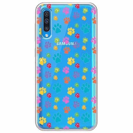 Etui na Samsung Galaxy A70 - Kolorowe psie łapki.