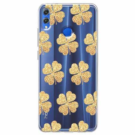 Etui na Huawei Honor 8X - Złote koniczynki