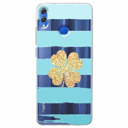 Etui na Huawei Honor 8X - Złota  koniczyna.