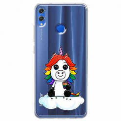 Etui na Huawei Honor 8X - Tęczowy jednorożec na chmurce.