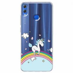 Etui na Huawei Honor 8X - Jednorożec na tęczy.