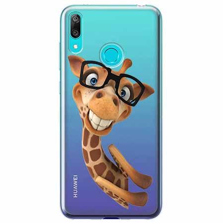 Etui na Huawei P Smart 2019 - Żyrafa w okularach.